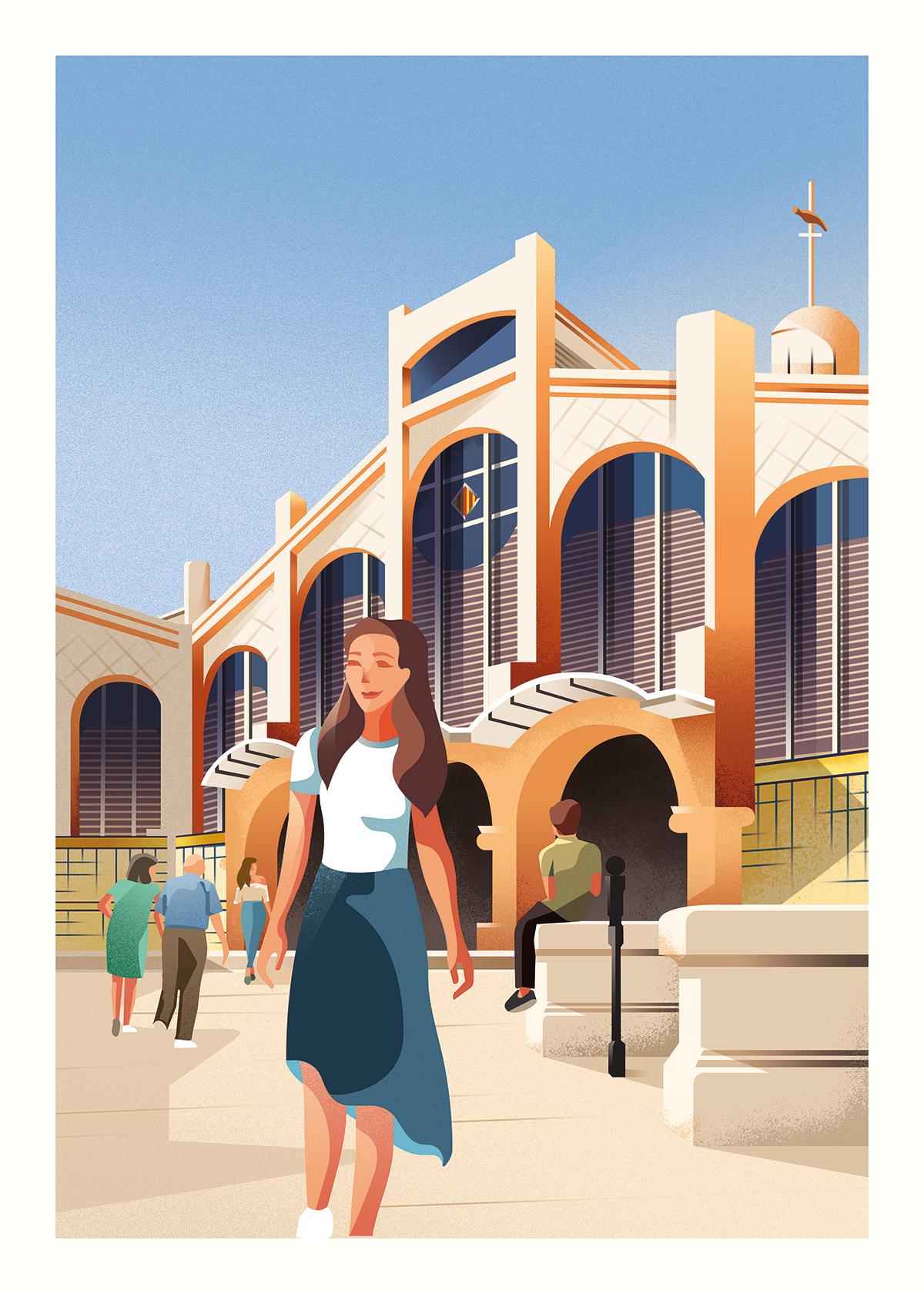 Mercat Central de Valencia Ilustracion por Gelpi Design