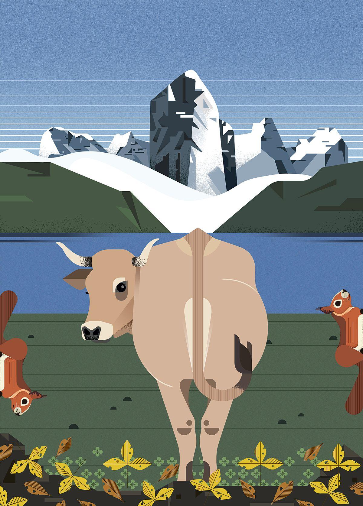 Ilustracion Lagos Covadonga en Asturias por Gelpi Design