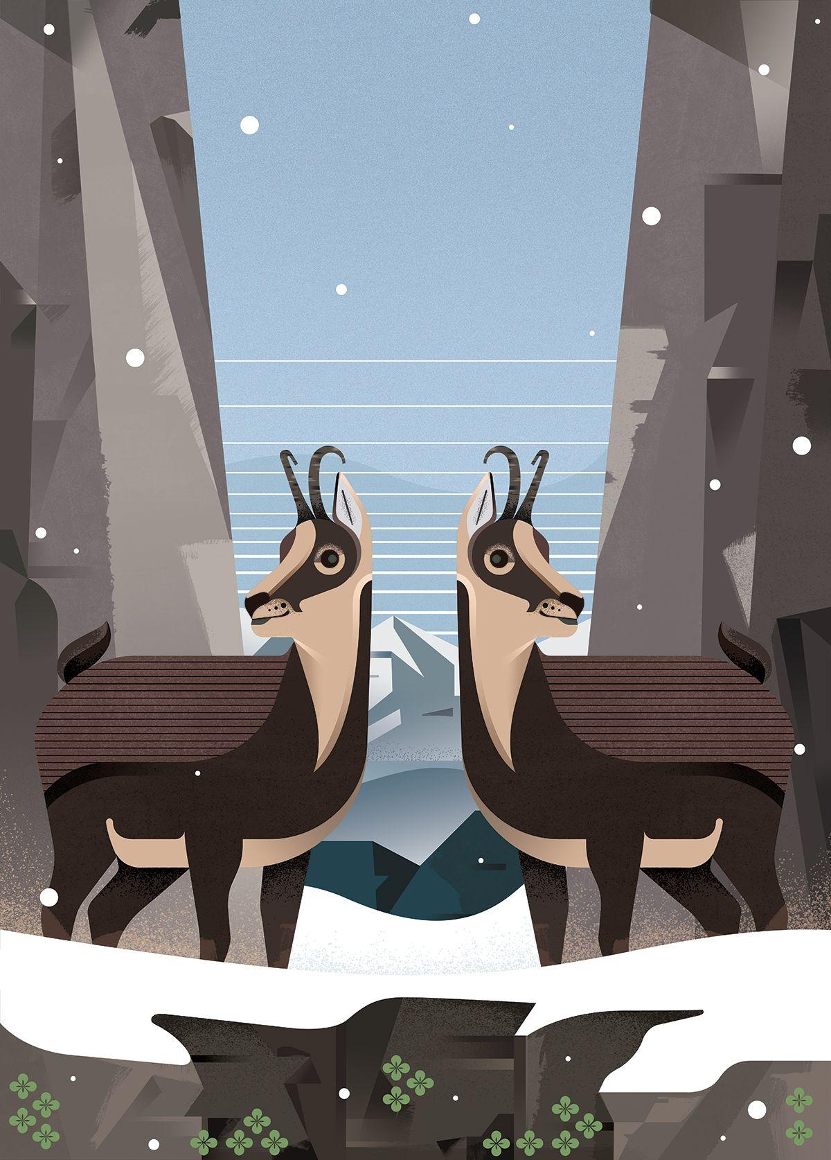 Ilustracion Rebeco en los Lagos Covadonga por Gelpi Design