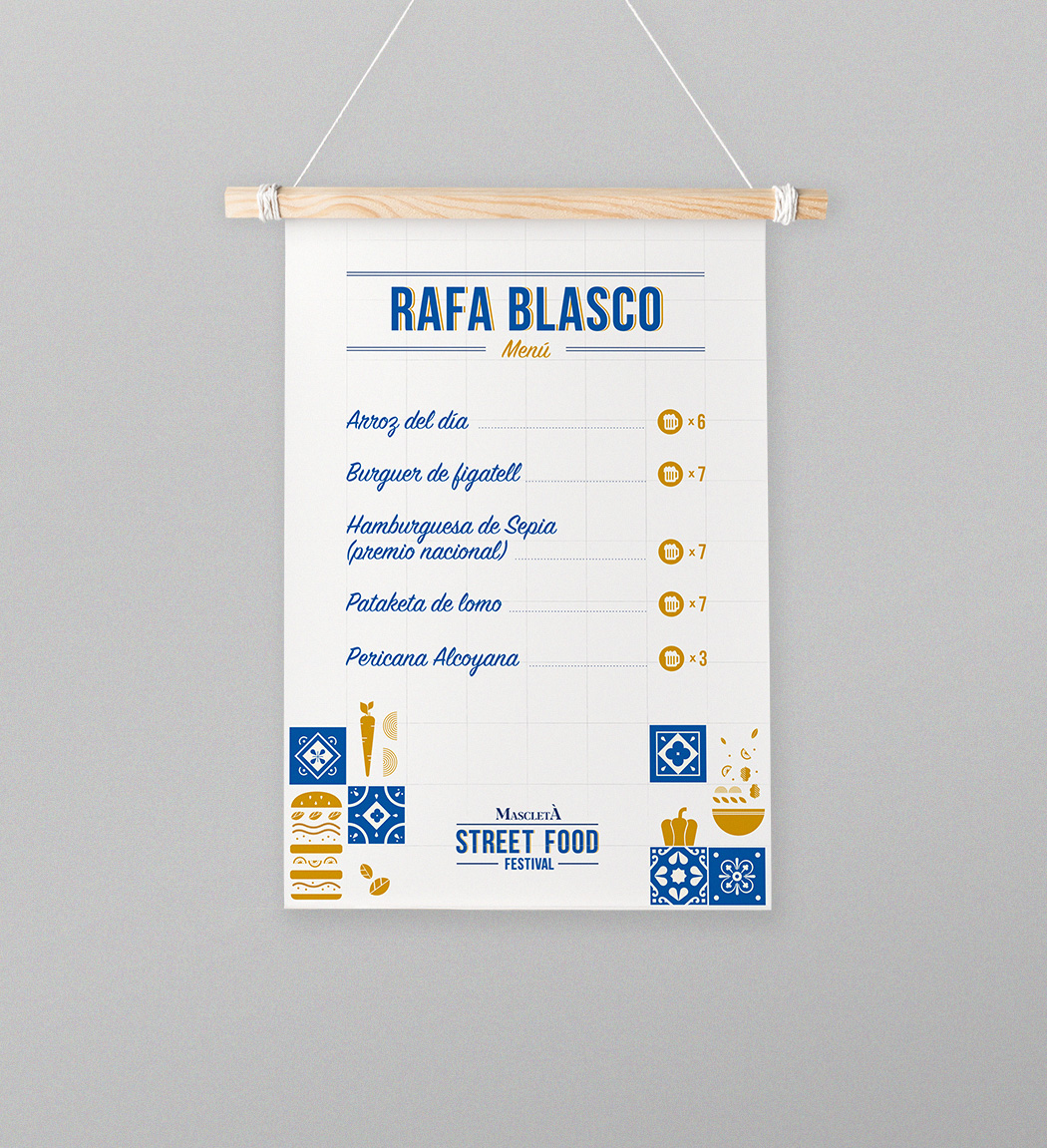 Mascletà Street Food Festival menu design by Gelpi Design