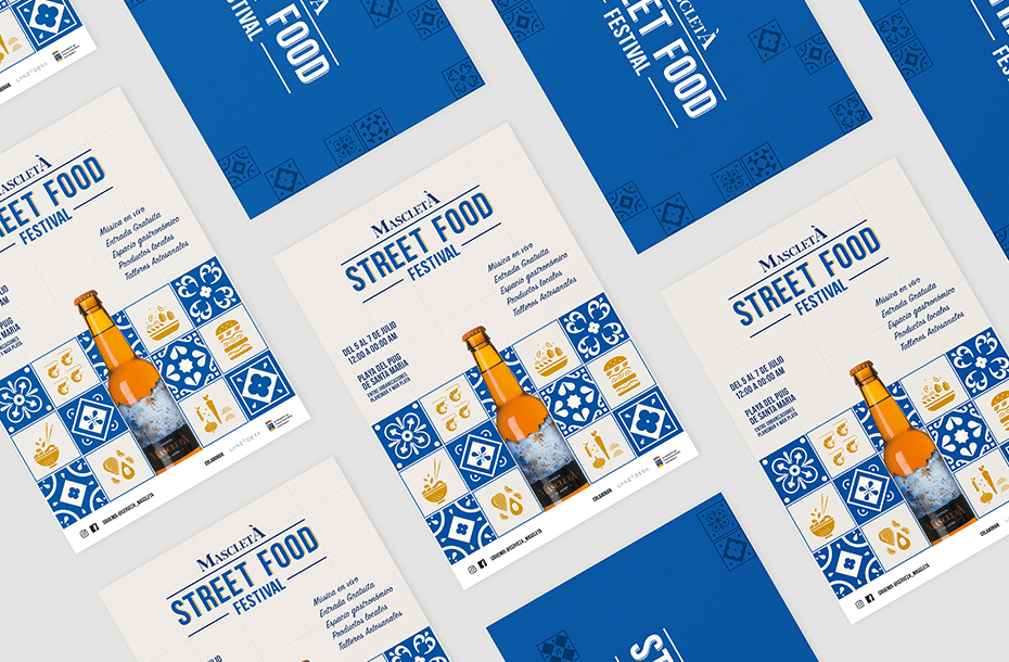 Mascletà Street Food Festival poster and visual identity by Gelpi Design