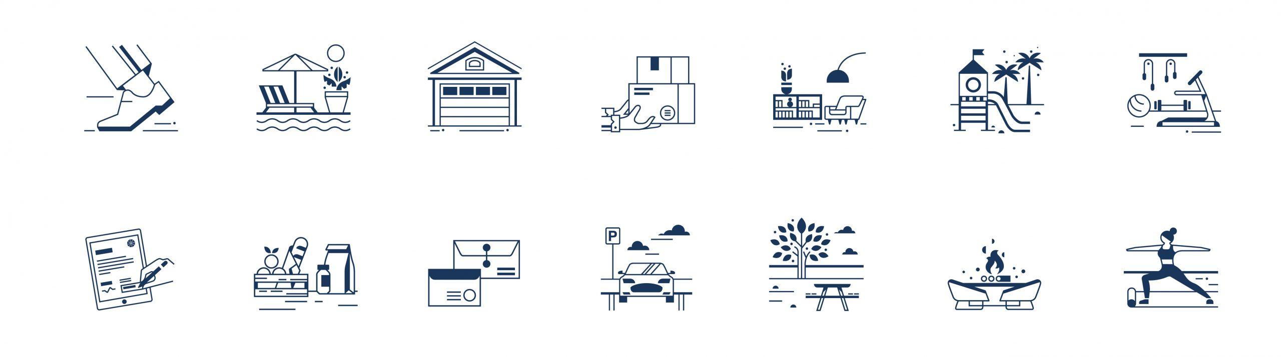 Gelpi Design Icons set illustration for Five by Five agency